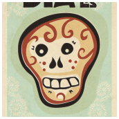 Dia De Los Muertos Poster with Texture and Offset - Image (c) Scott Banks