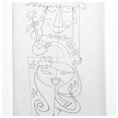 Hula Twosome Pencil Sketch