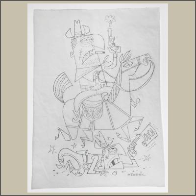 Cowboy Pencil Sketch