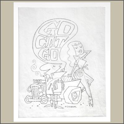 Go Cat Go Pencil Sketch